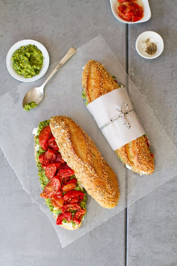 Slow-Roasted Tomato and Cilantro-Cashew Picnic Sandwich - @aidamollenkamp