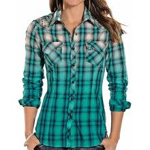 Rock & Roll Cowgirl Dip-Dyed Ombre Plaid Western Shirt - Snap Front, Long Sleeve (For Women) in Turquoise - Closeouts