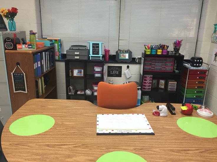 "An organized ""no teacher desk"" space"