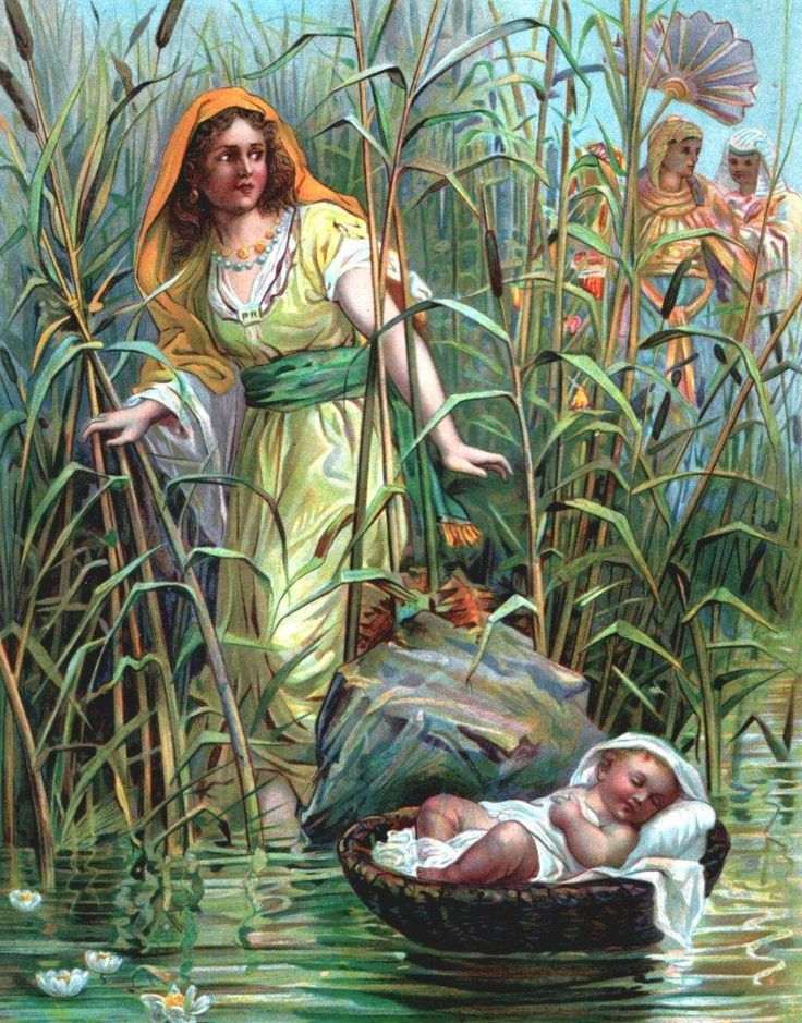 unknown artist, Miriam Puts Baby Moses on the River: