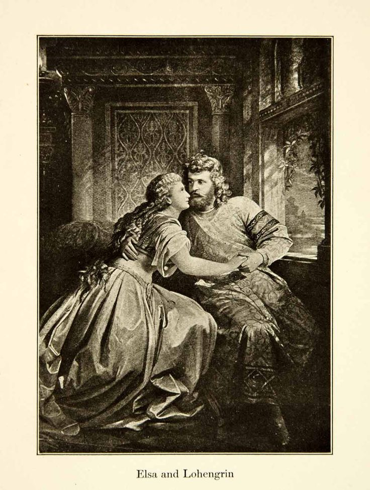 1905 Print Elsa Lohengrin Parsifal Opera Richard Wagner Theater Medieval XMB5