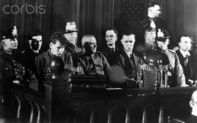24-year-old Dutch and anarchist Marinus van der Lubbe was arrested near the burning Reichstag in the night of the 27th of February in 1933, having a torch and a Communist Party member book with him. A persecution of Communist and opponents on the domestic front started. Van der Lubbe was sentenced to death because of high treason and was beheaded on the 10th of January in 1934.