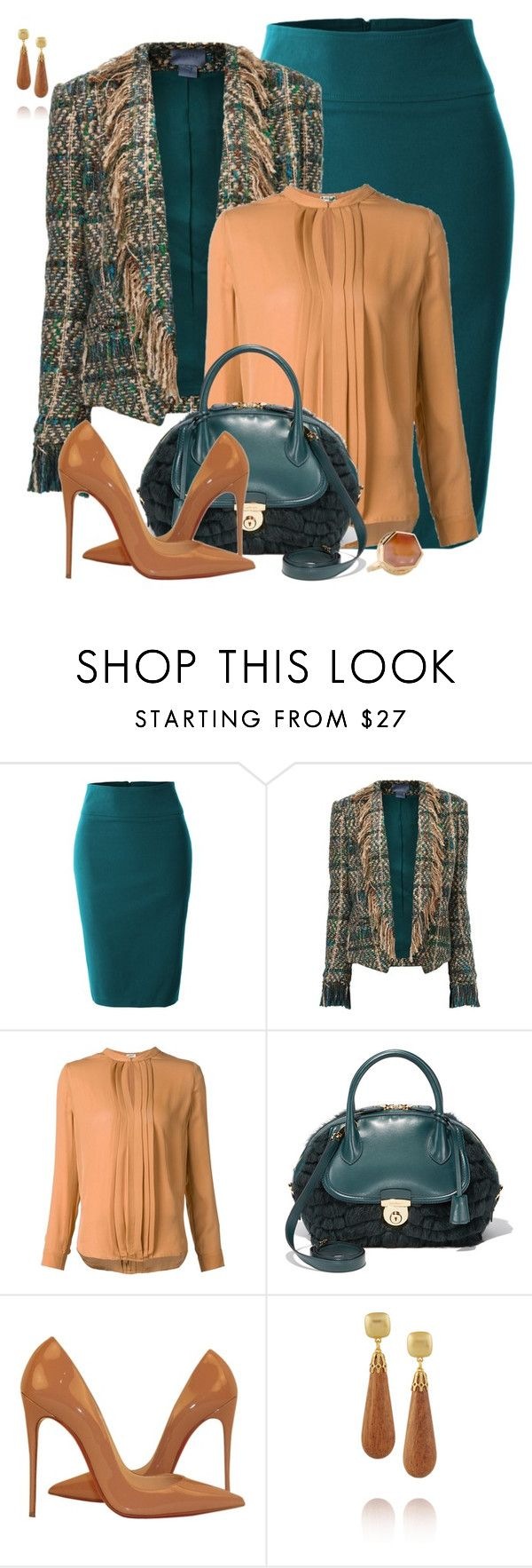 """Patricia"" by rotwein ❤ liked on Polyvore featuring LE3NO, Maiyet, L'Agence, Salvatore Ferragamo, Christian Louboutin, Kenneth Jay Lane and Andy Götz"