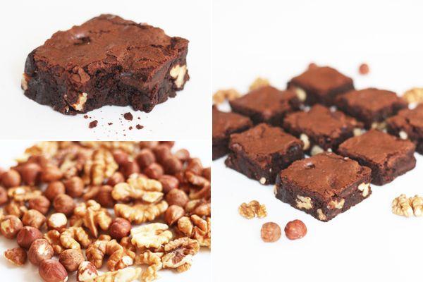 Brownies med kaffe, mørk chokolade og nødder