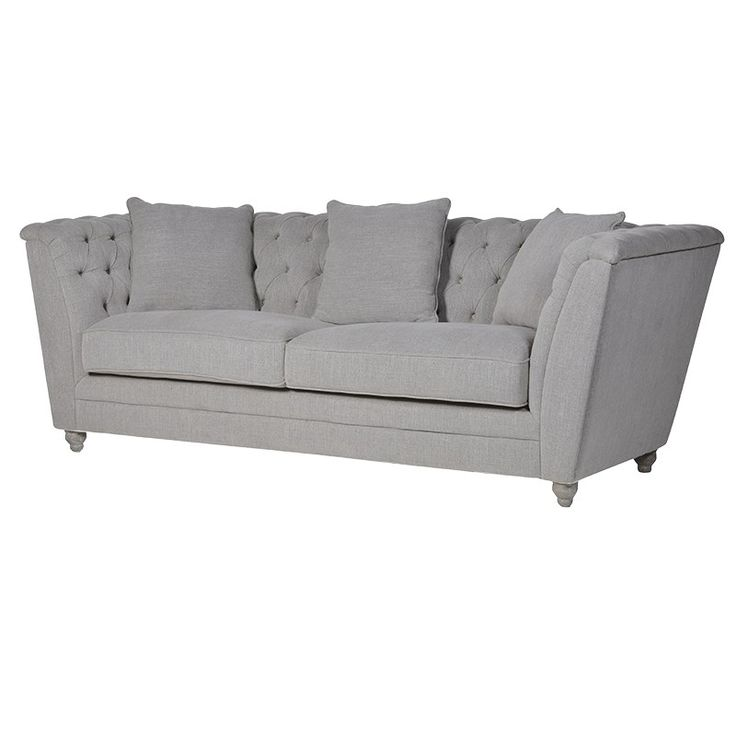 Grey Buttoned 3 Seater Box Sofa.  £949.99 H: 800mm W: 2200mm D: 900mm