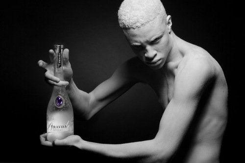 I can staret @ shaun ross all day. Albino Supermodel. (Ubersuccessful albino african american high fashion model)