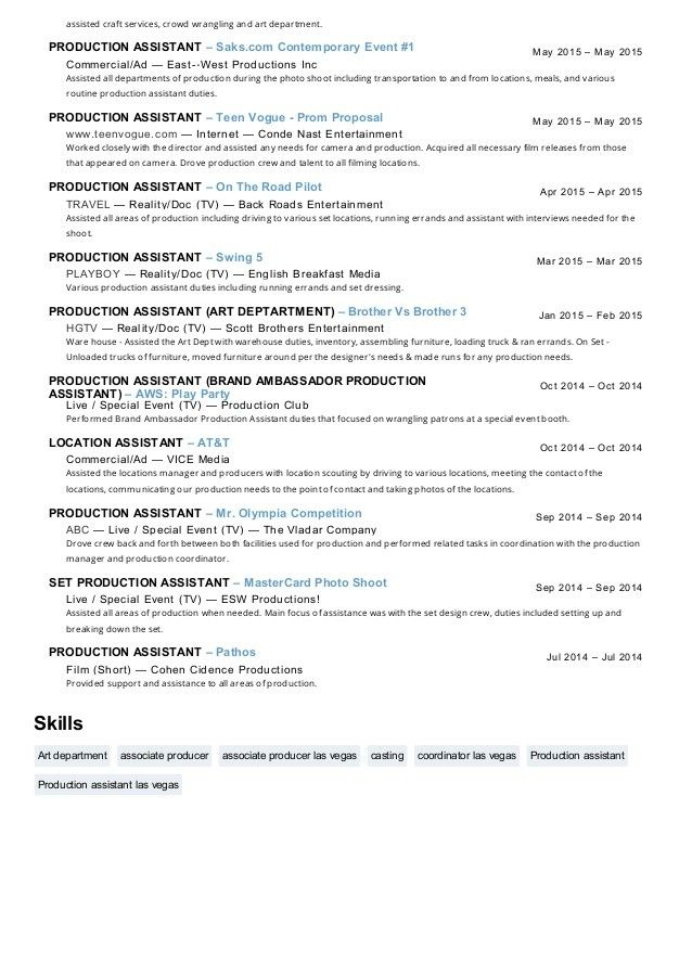 Top 20 Production assistant Resume | Sample resume, Cover ...