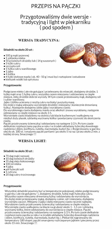 Tłusty Czwartek więc przygotowaliśmy dla Was przepis na pączki w wersji tradycyjnej oraz light ;-) Smacznego !!! #paczki #tlustyczwartek #paczek #przepis #przepisnapaczki