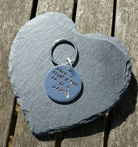 When a child is born, hand-stamped keyring, personalised, keychain, personalized, gifts for him, gifts for her, Father's Day gifts