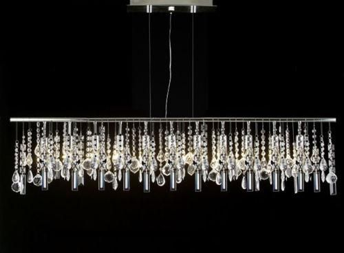 """Modern Contemporary Broadway Linear Crystal Chandelier Lighting Lamp 48"""" Wide"""