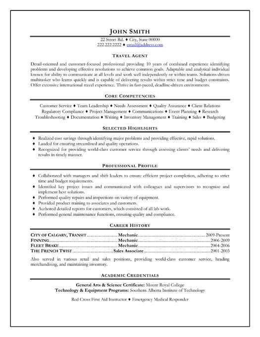 Resume Objective For Travel Agent