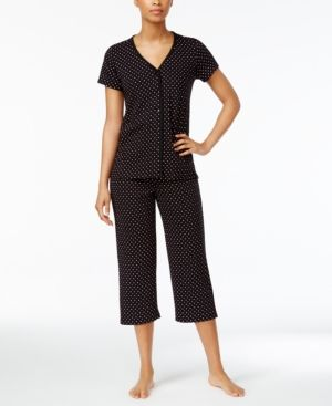 Charter Club Cropped Petite Pajama Set, Only at Macy's - Black L