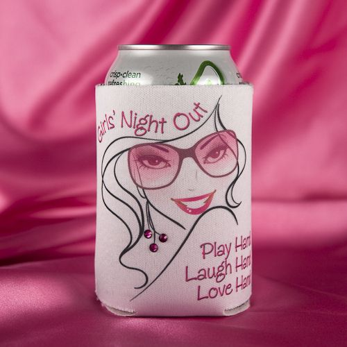 "Our newest Girls' Night Out ~ Bachelorette Party can koozie release! Darling pink and black cozies with a fun-loving girl in designer sunglasses with Swarovski crystal accent earrings. The front says ""Play Hard ~ Laugh Hard ~ Love Hard."" The back of the can koozie has the following terrific saying from Audrey Hepburn ""Happy Girls are the Prettiest Girls.""  Exclusive design offered at Second I Do's."
