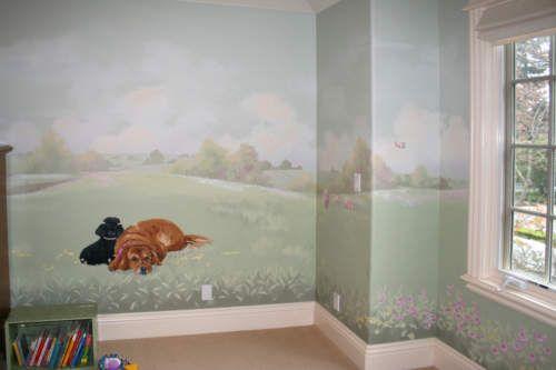 Pastoral Landscape Nursery Mural - Family Dogs
