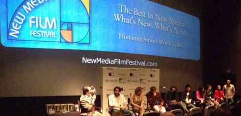 Filmmakers and Music Makers being interviewed by Xaque Gruber at 4th Annual New Media Film Festival. Irina Maleeva is in Red speaking about Let's Face The Music & Dance, her music video in the festival.