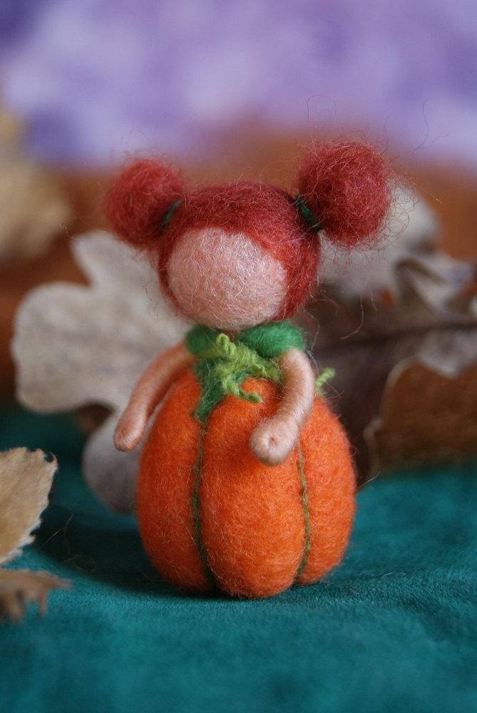 Pumpkin baby - felted, waldorf inspired