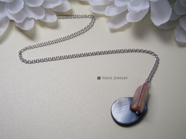 Collage Necklace, Mother of Pearl Shell Pendant Necklace, Minimalist Necklace by YaesilJewelry on Etsy