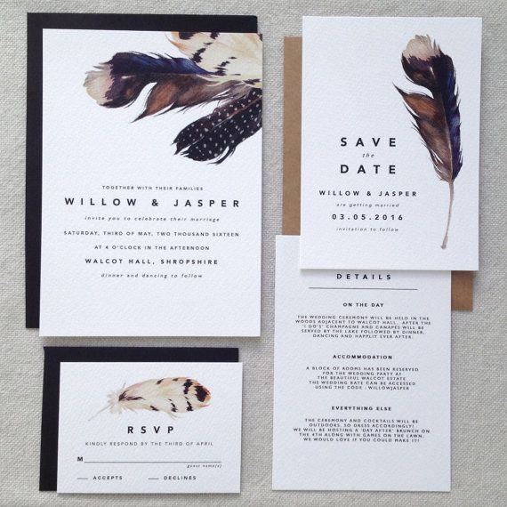 DOUGLAS | Modern Wedding Invitations, Boho Wedding Invites, Feather Wedding…
