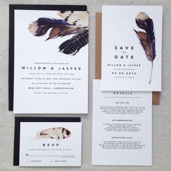 DOUGLAS  Modern Wedding Invitations Boho by KismetWeddingsCo