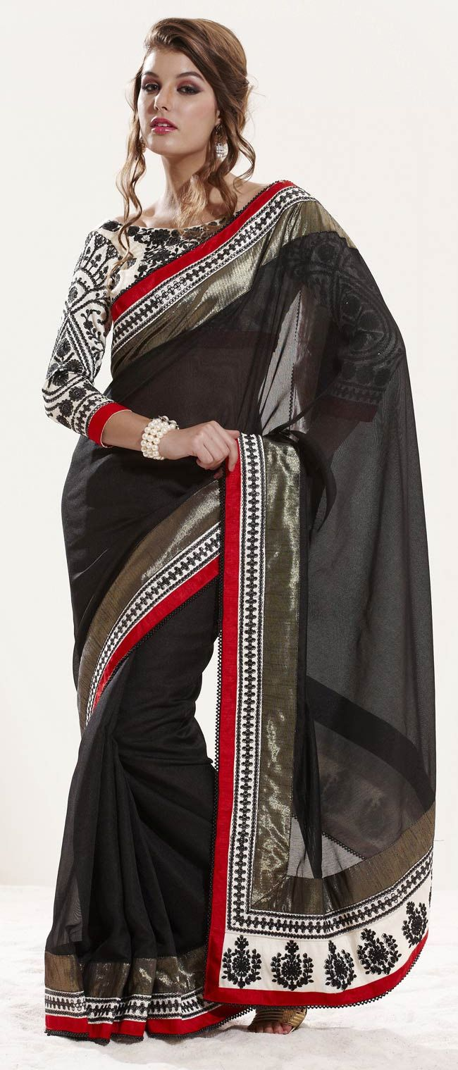 #Black Art #Silk #Saree with Double Blouse @ $120.38