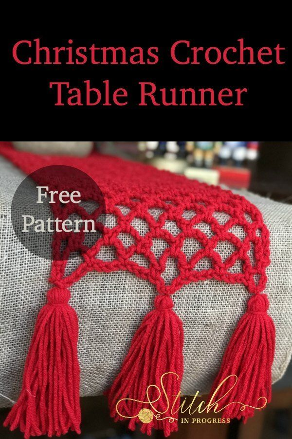 Crochet Table Runner - This project is quick and easy for beginners to crochet! Crochet|Yarn|Christmas #crochet #yarn via @stitchinprogress