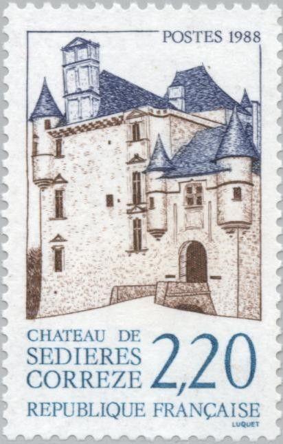 Sello: Castle Sédières - Correze (Francia) (Tourism) Yt:FR 2546,Mi:FR 2682