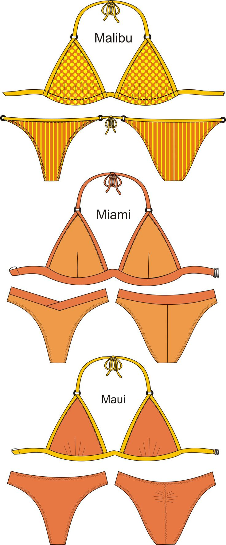 Sewing patterns for the 3 Classic Triangle bikini tops and 3 tangas bottoms in seven sizes. Choice of all-fabric, cut-and-sew foam or pre-formed foam cups for the tops!