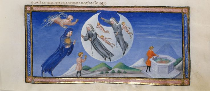 Dante Alighieri, Divina commedia (Yates Thompson MS 36) 1444-1450.  f. 133r: miniature of Dante, with the sun of love on his chest, encountering nuns and naked men, including the spirits of Piccarda and Constance, from the Paradiso, Canto III;