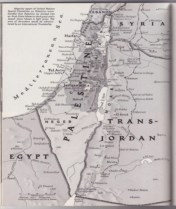 Map of Palestine from a 1947 issue of National Geographic.