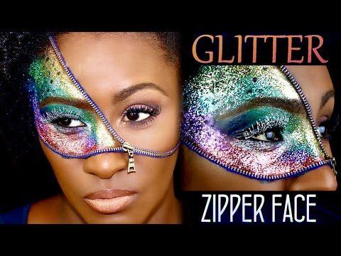 Zipper Face (GLITTER) Halloween Makeup   Shlinda1 - YouTube