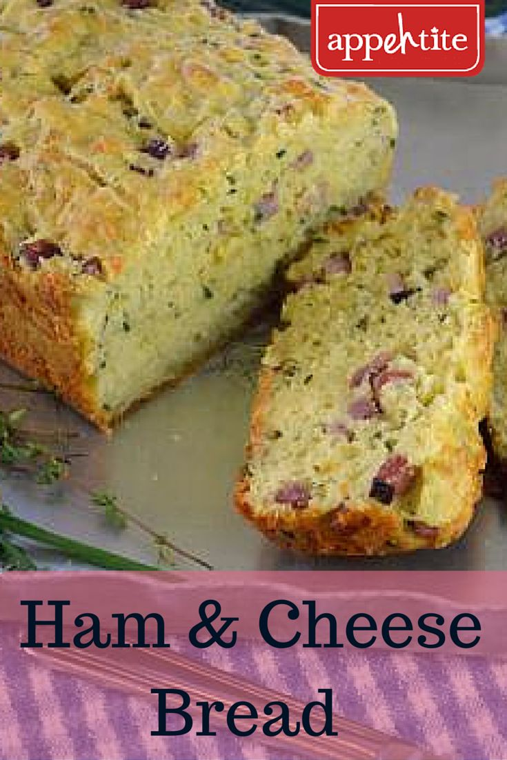 Savoury and delicious #bread with little nuggets of #ham with melted #cheese and herbs. A few slces of this in a lunch is the perfect back to school treat!