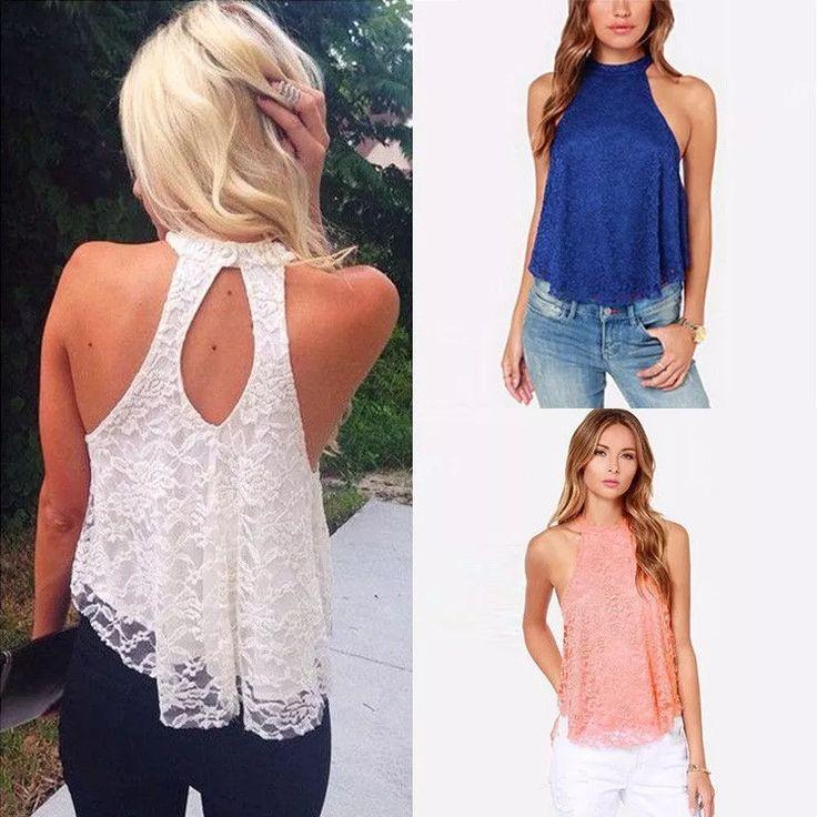 blusas casual de encaje a la moda, crop top, asiática