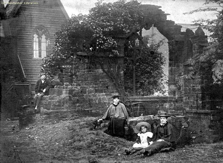 Church ruins with visitors in Moss Side (1897)