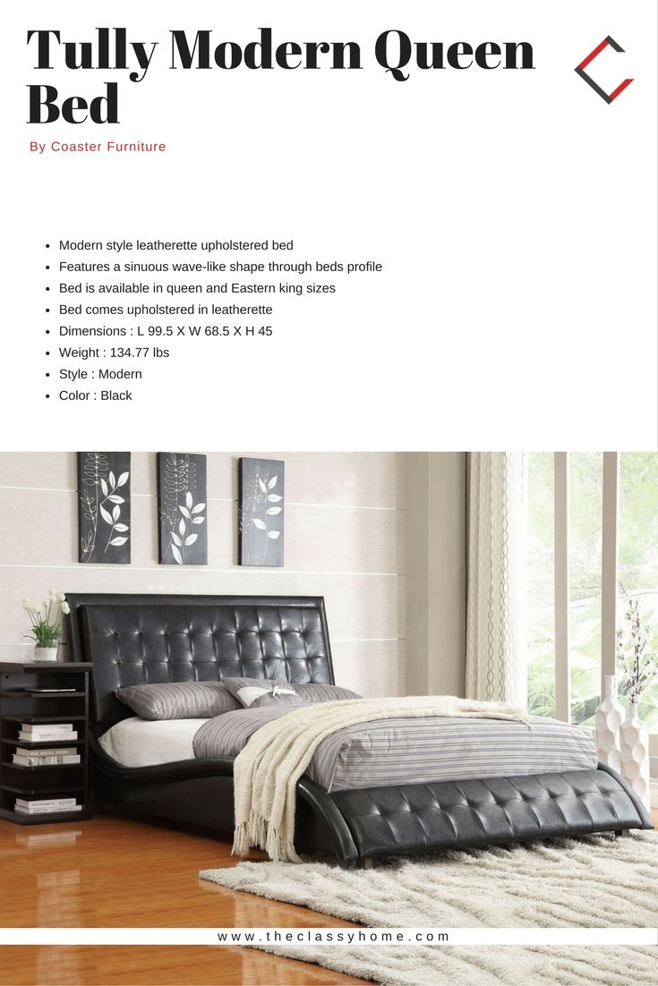 Tully Modern Black Leatherette Queen Bed