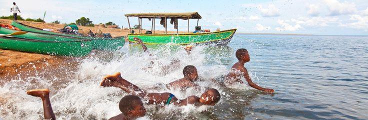 Children diving into the lake at Nkwichi Lodge, Lake Malawi, Malawi