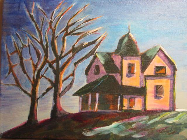 House on the hill.  Acrylic