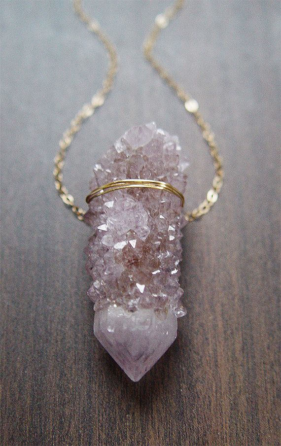 Lavender Spirit Quartz Necklace Gold OOAK by friedasophie on Etsy, $69.00