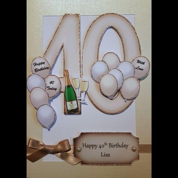 Handmade in UK - Luxury 40th Birthday Card personalised keepsake
