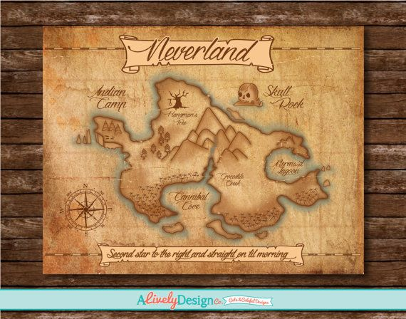 Neverland Map / Nursery Decor / Child's Room Decor / Disney Posters / Peter Pan / Disney Room