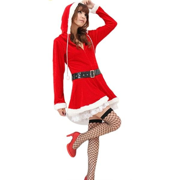 Sexy Christmas Costume Red Pretty Long Sleeve Pleuche Hooded (16 AUD) ❤ liked on Polyvore featuring costumes, red, sexy santa suit, sexy womens costume, sexy women halloween costumes, ladies halloween costumes and santa claus suit