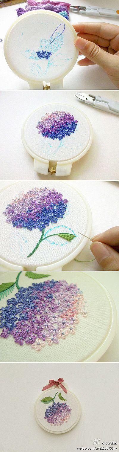 手工DIY 嘀咕图片 hydrangea embroidery