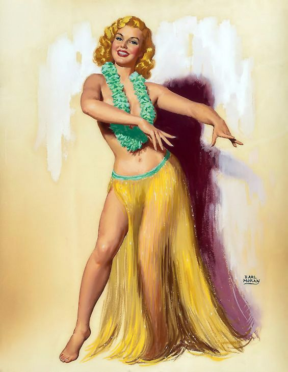 Lovethepinups Earl Moran - Marilyn In A Hula Skirt 1940 -6991