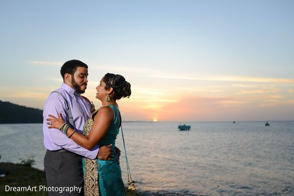 Bride and groom photographed in a marvelous sunset at Moon Palace Jamaica Grande #destinationwedding