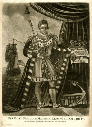 William IV. Portrait; full-length standing to right in coronation robes with the George and sword, looking towards the viewer, holding the sceptre in his right hand and gesturing at a scroll inscribed 'Magna / Charta / Reform / & / Trade' against by the crown and orb against a curtain on the right, an anchor at his feet and ship in the background to left. 1831. Britishmuseum.org
