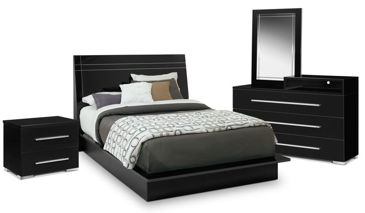 Dimora 6-Piece Queen Panel Bedroom Set With Media Dresser - Black