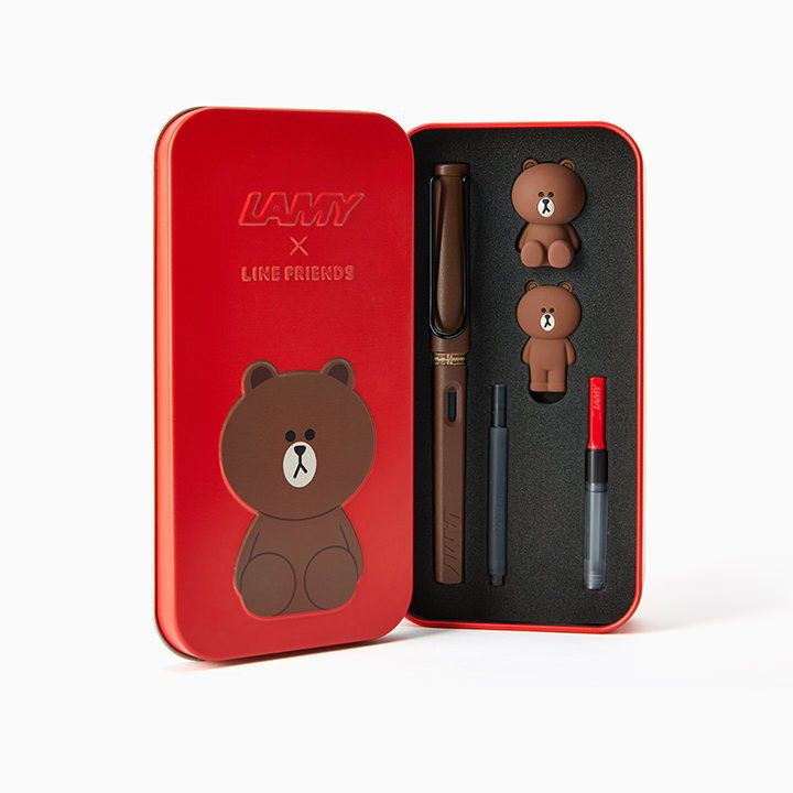 LAMY x LINE FRIENDS Safari Fountain Pen BROWN in the RED Limited Edition #LamyxLineFriends