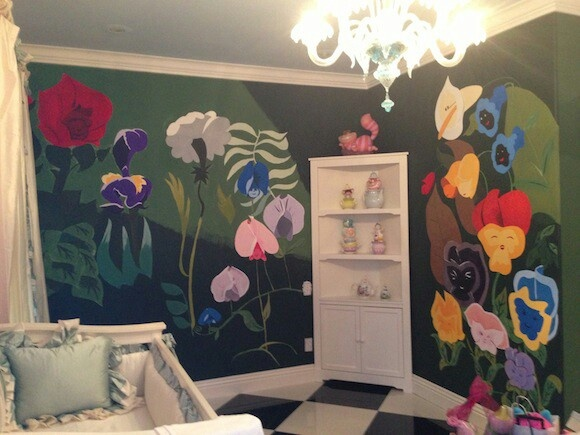 Alice in Wonderland nursery..  If I have a little girls someday, I need to figure out how to make something like this happen..
