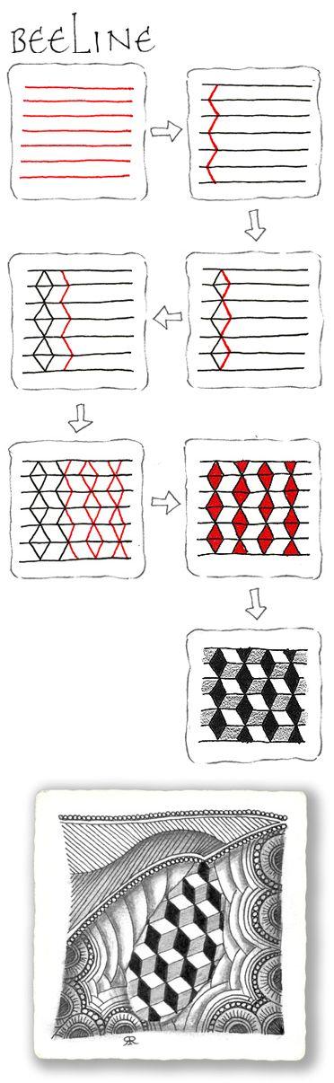 BeeLine. Official Zentangle w. example. | Zentangle | Pinterest | Doodles, Zentangles and Drawings