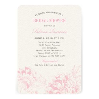 Elegant and romantic peony wedding bridal shower invitation design in pink and pewter gray color scheme. #wedding #peony #peonies #floral #flower #pretty #bridal #shower #garden #pink #gray #party #theme