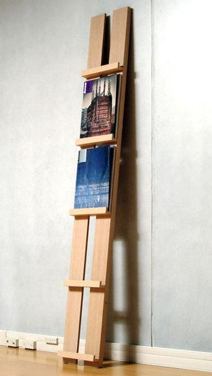 Wooden prop up against the wall bookshelf, or to hold artwork